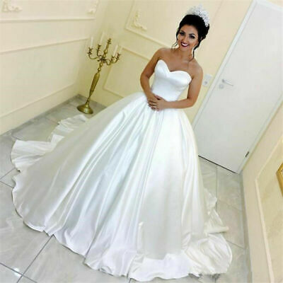 $ CDN144.69 • Buy Elegant Strapless Wedding Dresses Satin Ball Bridal Gowns Sleeveless Sweep Train