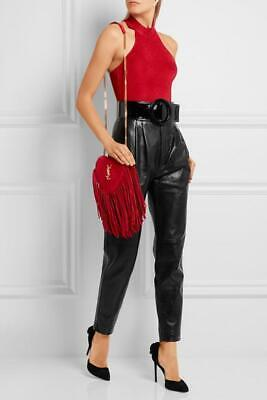 AU1699 • Buy YSL SAINT LAURENT Love Fringed Suede Heart Bag In Red