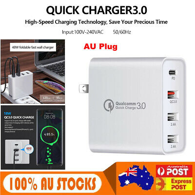 AU20.45 • Buy USB-C Wall Fast Charger 48W Type C Power Adapter 4 Port QC3.0 Folding AU Plug