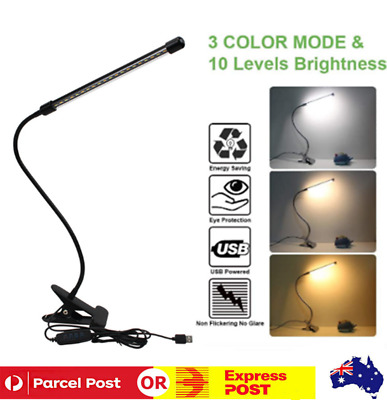 AU21.88 • Buy Table Lamp Desk Bedside Reading LED Light Clip On Dimmable Switch Night USB AU