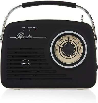 Akai A60014V Vintage Radio With AM And FM Radio Functions, Built-in USB, Black • 36.99£
