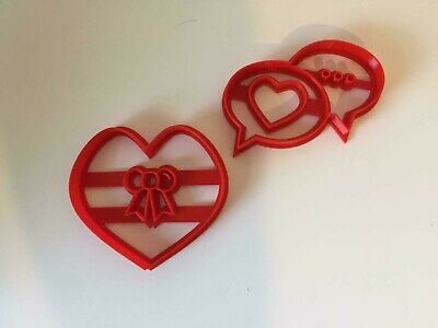 Heart Bubble Bow Cookie Cutter Plastic Cake Decorating Stamp Embosser 2 Piece • 5.99£