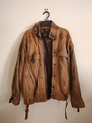Unique Designer Vintage Retro Brown Leather Military Aviator Flying Jacket L 43  • 15£