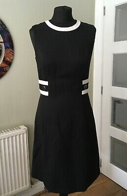 Hobbs Stylish Black And White Dress, Size 10, Matching Jacket Available • 22£
