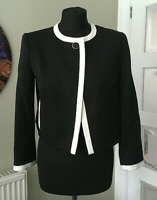 Hobbs Stylish Black And White Jacket, Size 8, Matching Dress Available • 16.99£