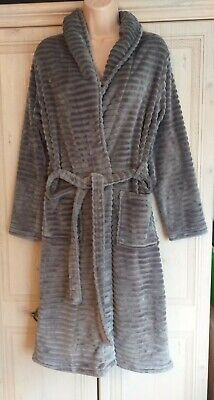 Ladies Cosy Embossed Stripe Silvery Coloured Dressing Gown From NEXT In A Size S • 4£