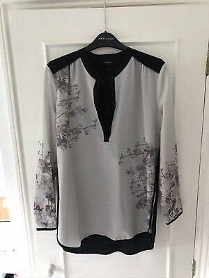 Marks And Spencer Autograph Black Grey Floral Crew Button Front Blouse Size 12 • 3£