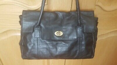 Ladies AUTOGRAPH M&S Black Vintage 100% Leather Bag With Dust Bag • 9.99£