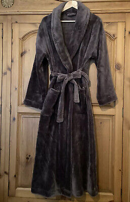 M&S Chocolate Brown Fluffy Velour Super Soft Long Dressing Gown Size 12 14 M L • 8.50£