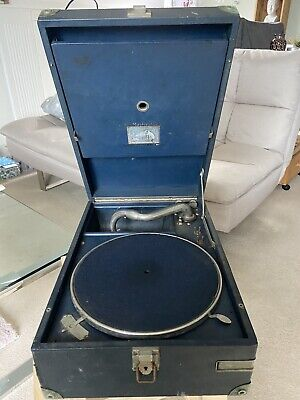 Vintage Portable 1930s HMV Gramophone Wind Up Record Player - His Masters Voice • 95£