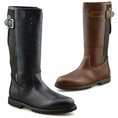 Womens New Leather Knee High Flat Heel Winter Riding Waterproof Boots Shoes Size • 29.98£