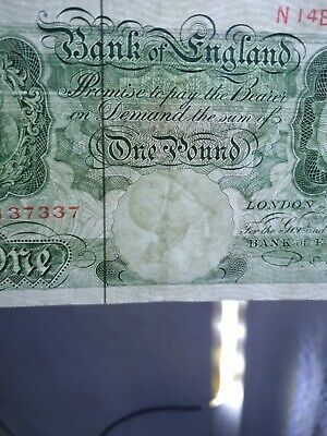 One Pound Note Rare Green Bank Of England NMint 1950s • 5£