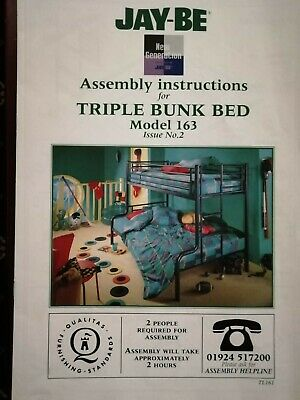 Jay-Be Triple Bunk Bed With 2 Mattresses Included • 30£