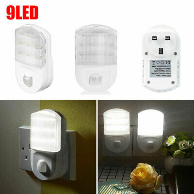 LED Plug In Hallway Socket Safety Night Light Lamps PIR Motion Sensor Use White • 11.41£