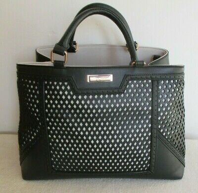 NEW - River Island Large Black & Cream Leather Tote Bag  • 9.99£