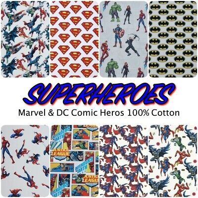 Licensed SUPERHEROES Marvel, Batman Superman DC Cotton Dress + Craft Fabric • 6.25£