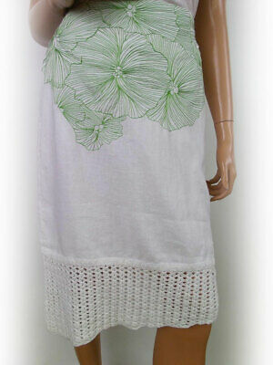 St-martins Women's Skirt Size M White Embroidery Flax 100% • 21.20£