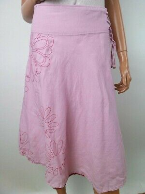 St-martins Women's Skirt Size S Powder Pink Embroidery Flax 100% • 21.20£