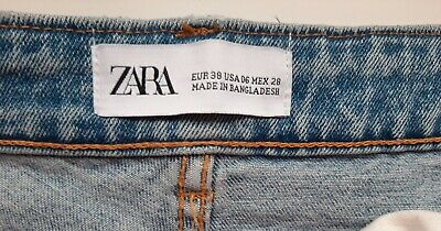 Ladies Blue Denim Jean Shorts By Zara Small Medium Festival Lace Summer Holiday • 2.60£