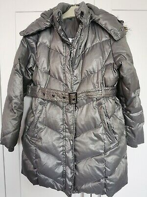 Girls Zara Silver Grey Feather Down Winter Coat Age 5/6 • 3£