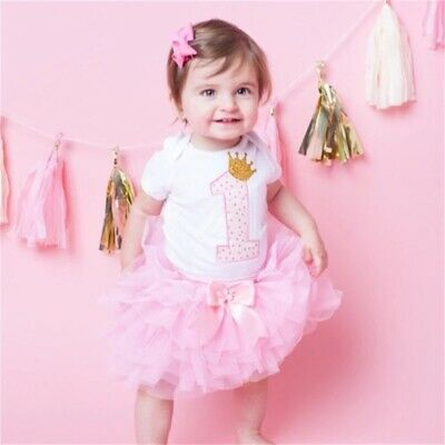 AU44.50 • Buy Baby Girl 1st Birthday Party Outfit Dress Tutu One Cake Smash Photoshoot Romper