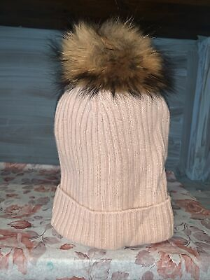 N.PEAL Cashmere FUR One Size Fit Pastel Pink/peach 100% CASHMERE And Fur Pom Pom • 45£