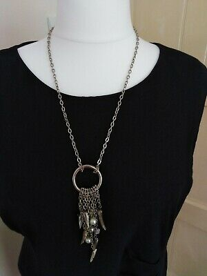 Necklace - Silvertone Chain Pendant Circle With Chain Of Beads Chips Horn Plenty • 5.99£