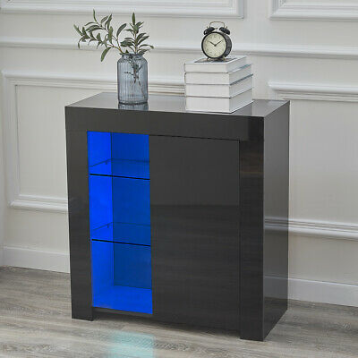 £59.99 • Buy Black High Gloss Cupboard Cabinet Sideboard Buffet Storage With Door LED Modern