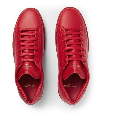 AU300 • Buy YSL Saint Laurent Mens Red Sneakers Casual Leather Shoes Size 43 US 10