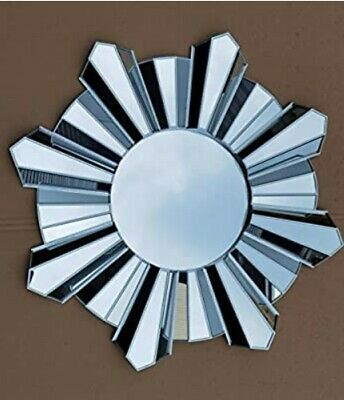 Contemporary 65cm Hanging Mirror Sunburst Home Decor Round Wall Mounted Silver • 39.98£