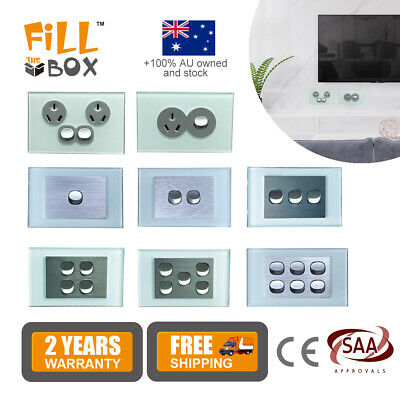 AU27.90 • Buy 10A Amp 250V Power Point Wall Socket Outlet GPO Light Switch Glass Panel