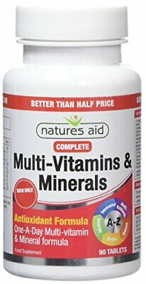 Natures Aid Complete Multi-Vitamins And Minerals, 90 Tablets (One-a-Day Antioxi • 8.58£