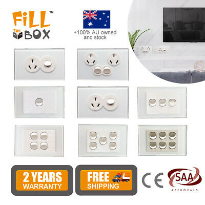 AU27.90 • Buy AU Type Touch Double GPO Glass Panel Power Point Wall Outlet Socket Switch 10AMP