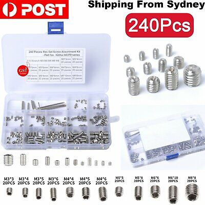 AU15.69 • Buy 240pcs Hex Socket Set Grub Screws Assortment Kit M3/M4/M5/M6/M8 W/ 5pcs Hex Keys