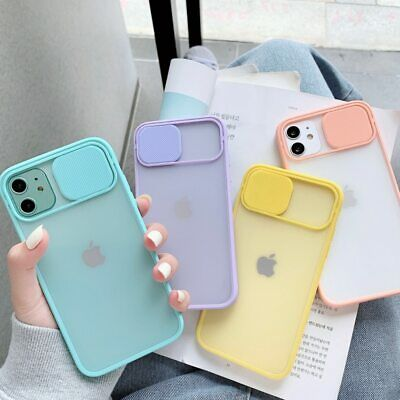 Slide Camera Lens Protection Phone Case IPhone 12 Pro Max 11 XR 7 8 Matte Cover • 3.99£