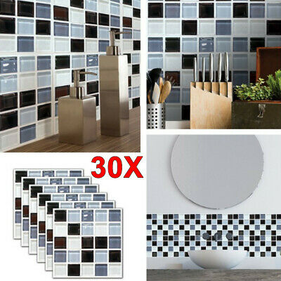 30X Kitchen Tile Stickers Bathroom Mosaic Sticker Self-adhesive Wall Home Decor • 8.79£