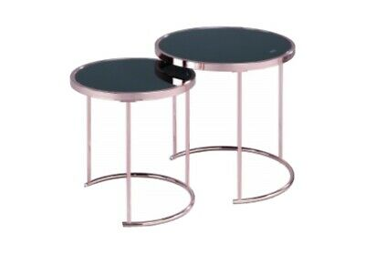 Aspect Messina Set Of 2 Round Nesting Table Glass (black/copper • 70£