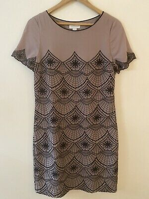 MONSOON Ladies Size 12 M Nude Beige Embroidered Evening Shift  Dress • 5£