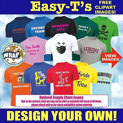 £3.45 • Buy Personalised Custom Printed T Shirt Printing Design Your Own Unisex Stag Do Hen