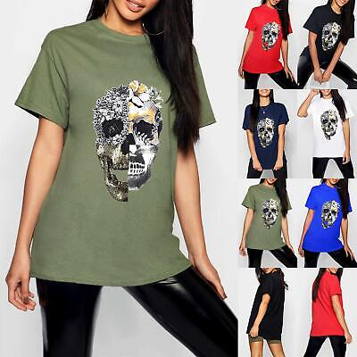 Ladies Womens Halloween BoyFriend Skull Flower Face Oversized Baggy T Shirt Top • 2.99£