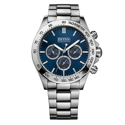 Hugo Boss Ikon Blue Dial Silver Strap Chronograph Luxury Mens Watch Hb1512963 • 97.95£