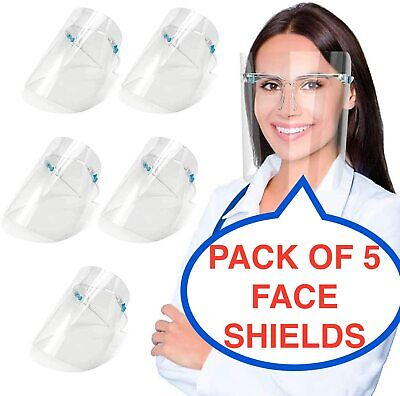 5 PACK Full Face Shield Visor Protection Mask Sheild Safety Clear Anti Fog PPE  • 4.30£