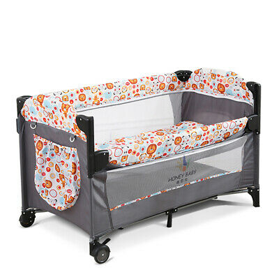 Side Sleeping Bedside Crib Baby Travel Cot Bed With Washable Mattress & Wheels • 82.74£
