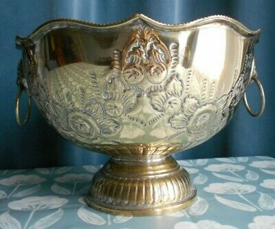 Vintage Silver Plate On Brass Embossed Punch Bowl With Lion Head Handles • 10£