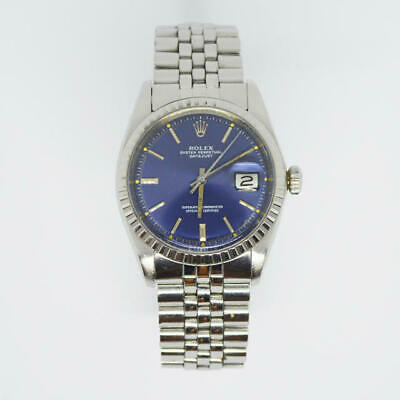 $ CDN7256.40 • Buy Rolex Datejust 1603 Automatic Cal.1570 Blue Dial Vintage Men's Watch