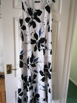 Alex And Co White And Blue Floral Linen Sleeveless Shift Dress Size 14 • 2.90£