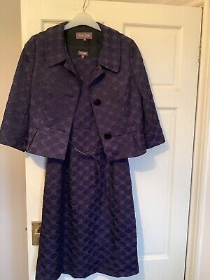 Lovely Purple And Black Phase Eight Dress And Jacket Size 12 • 30£