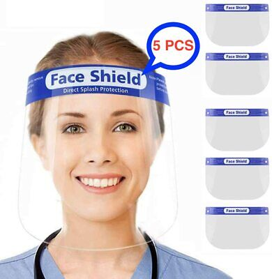 5PCS Full Face Shield Anti-Fog Visor Reusable Plastic Safety Mask Visor Guard UK • 4.95£