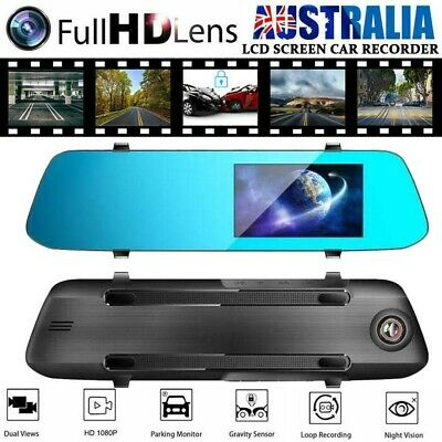 AU32.99 • Buy 4.5  IPS Touch Screen Rear View Mirror Dash Car Reverse Camera Double Cam 1080P