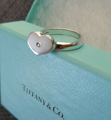 Tiffany & Co. Sterling Silver Paloma Picasso Diamond Modern Heart Ring - Size P • 90£